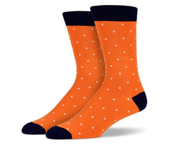Mens Orange Small Polka Dot Socks