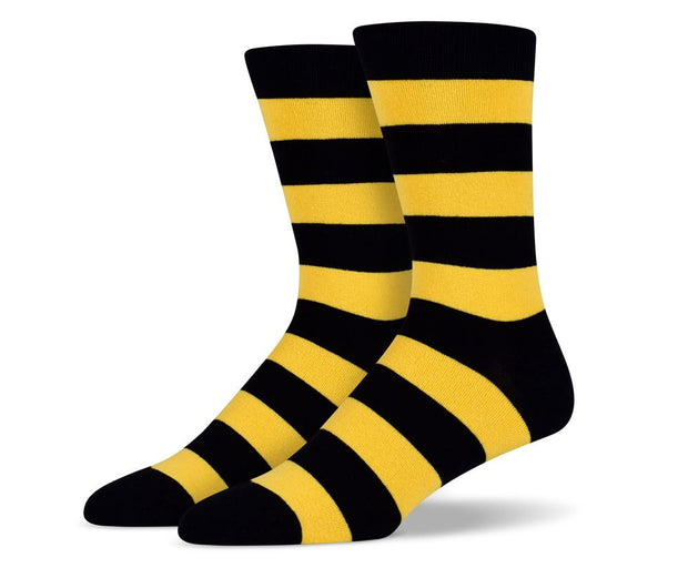 Mens Black & Yellow Thick Stripes Socks
