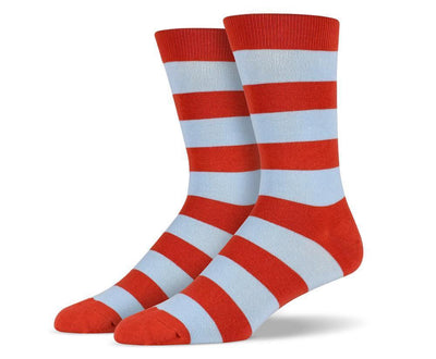 Mens Orange & Blue Thick Striped Socks