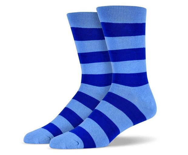 Mens Blue Thick Striped Socks