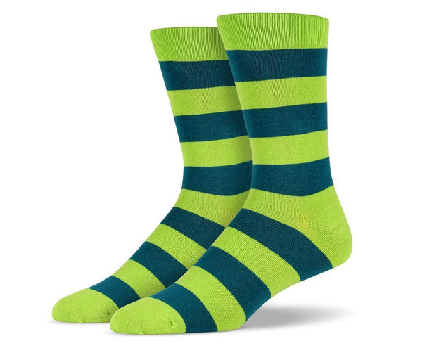 Mens Green Thick Striped Socks