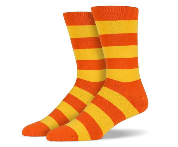 Mens Orange Thick Striped Socks