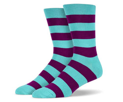 Mens Teal & Purple Thick Striped Socks