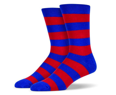 Mens Blue & Red Thick Striped Socks