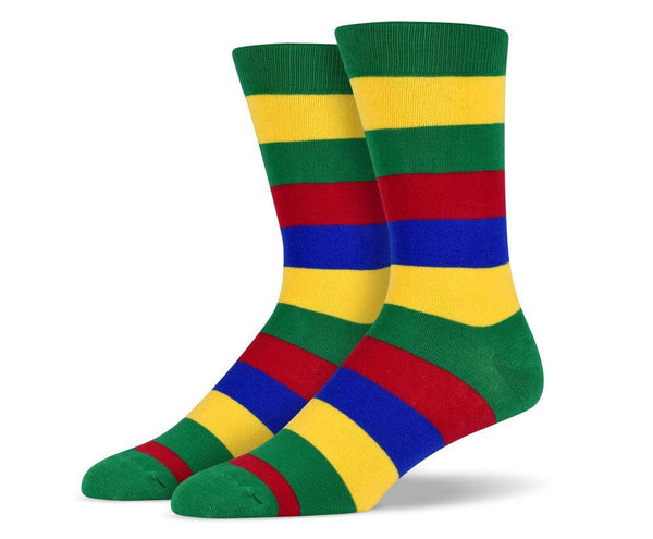 Mens Green & Yellow Thick Striped Socks