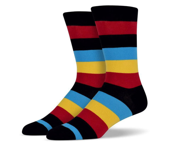 Mens Black & Red Thick Striped Socks