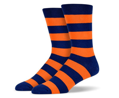 Mens Orange & Navy Thick Striped Socks