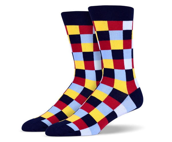Navy Blue Red Yellow Blue Square Socks