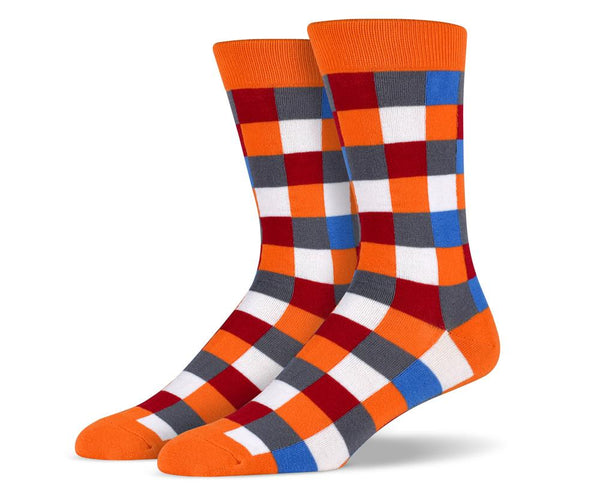 Orange White Red Blue Grey Square Socks