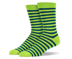 Mens Green Stripe Socks