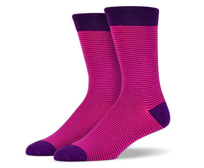 Mens Purple Thin Striped Socks