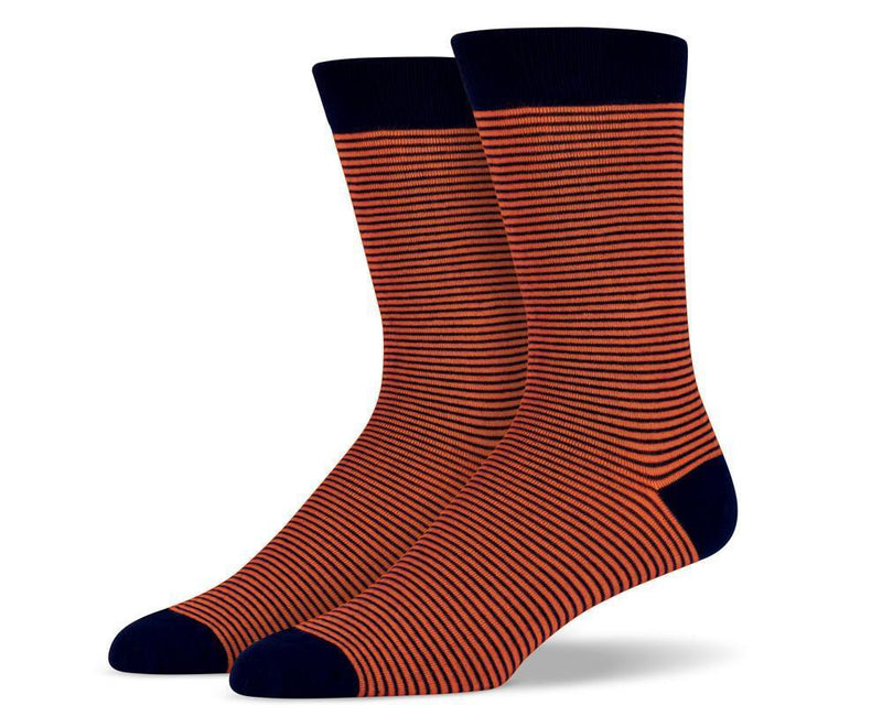 Mens Orange Thin Striped Socks