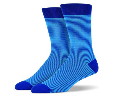 Mens Blue Thin Striped Socks