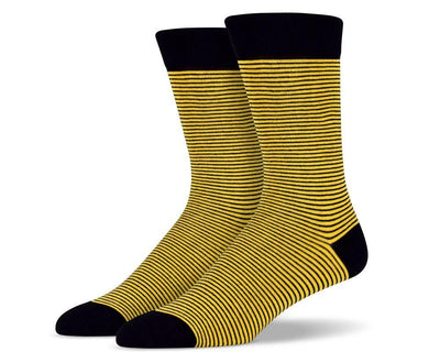 Mens Yellow Thin Striped Socks