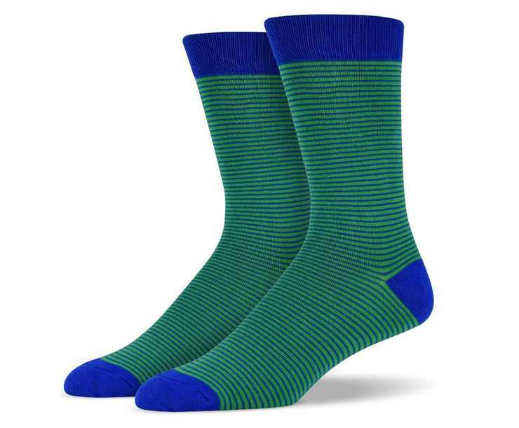 Mens Green Thin Striped Socks
