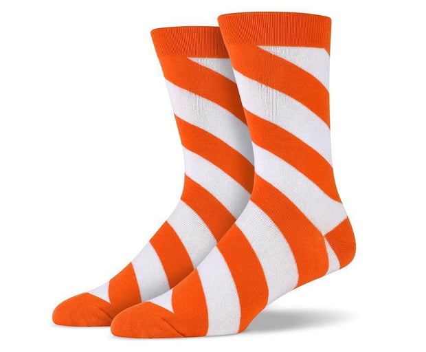 Mens Orange Diagonal Striped Socks