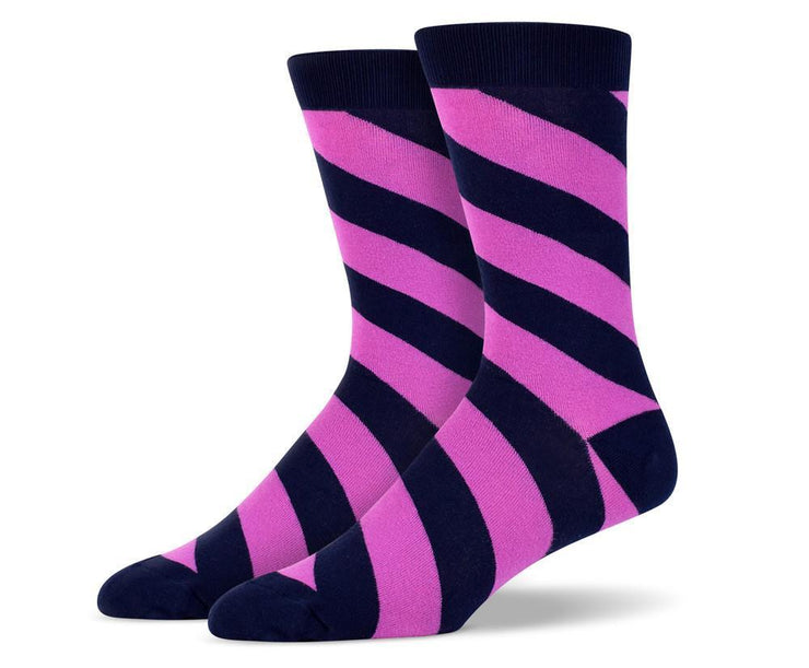 Mens Purple Diagonal Striped Socks