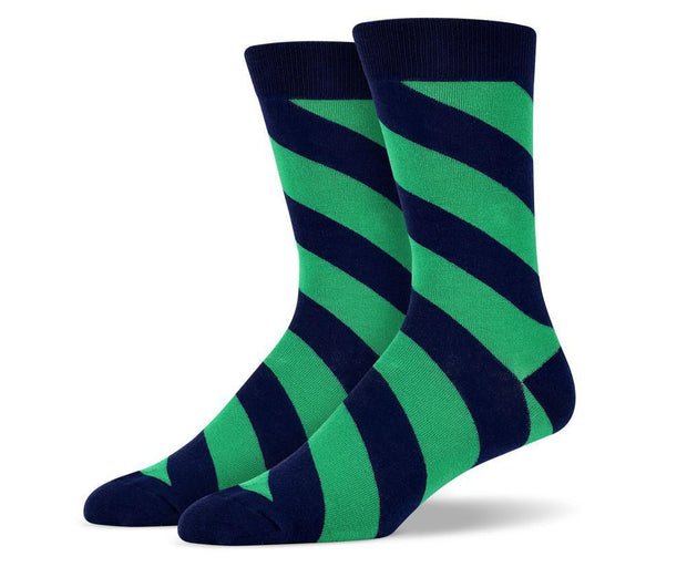 Mens Green Diagonal Striped Socks