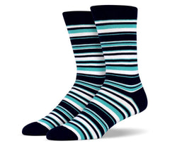 Mens Turquois & Black Thin Striped Socks