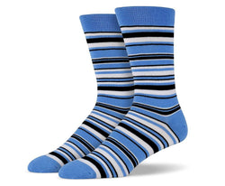 Mens Blue & White Thin Striped Socks