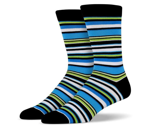 Mens Blue & Green Thin Striped Socks