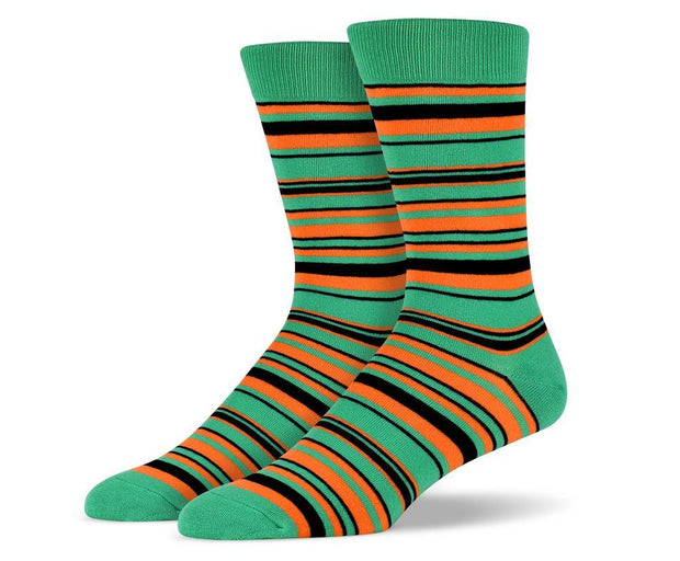 Mens Green & Orange Thin Striped Socks