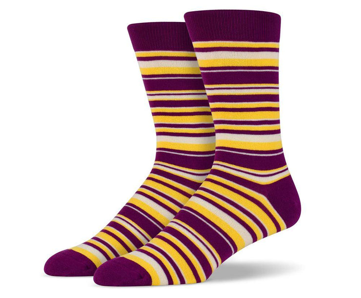 Mens Purple & Yellow Thin Striped Socks