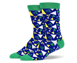 Mens Green Assorted Triangle Socks