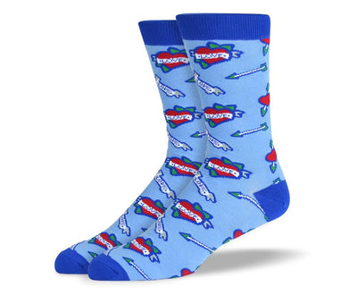 Men's Blue Love Heart Socks