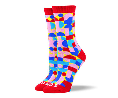 Women's Pink Novelty Patterned Socks