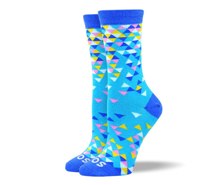 Women's High Quality Blue Triangles Socks