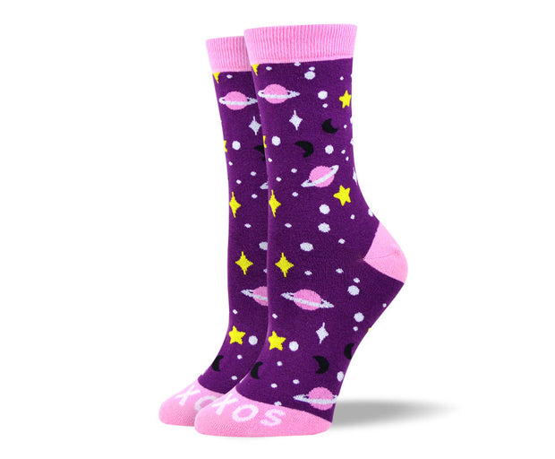 Women's Fun Purple Space Socks