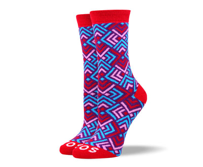 Women's Trendy Red Art Socks