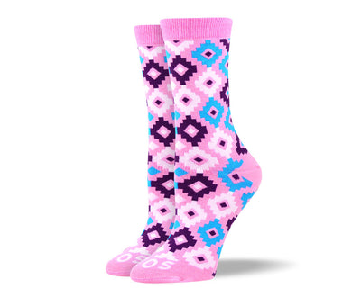 Women's Unique Pink Diamond Socks