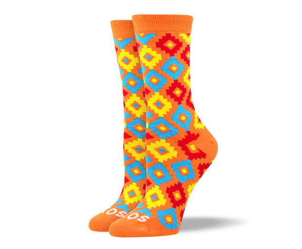Women's Unique Orange Diamond Socks