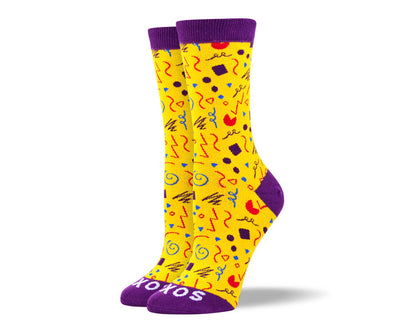 Women's Fun Yellow Party Socks