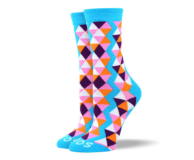 Women's Blue Funky Triangle Socks