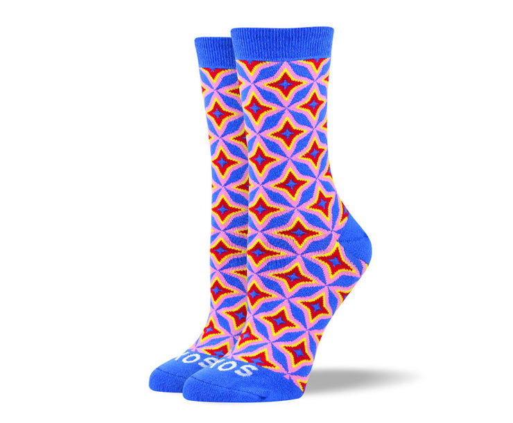 Women's Blue Designer Star Socks