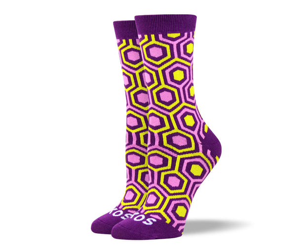 Women's Pink Novelty Pattern Socks