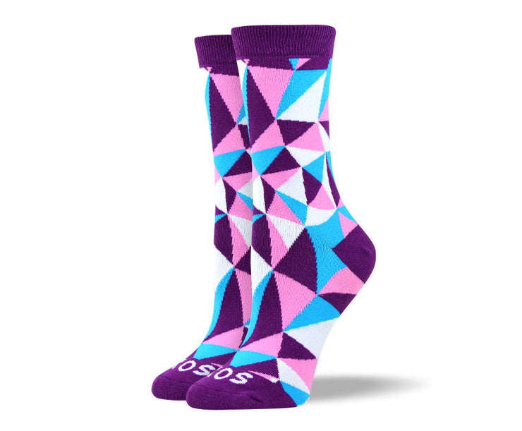 Women's Trendy Purple Mosaic Socks