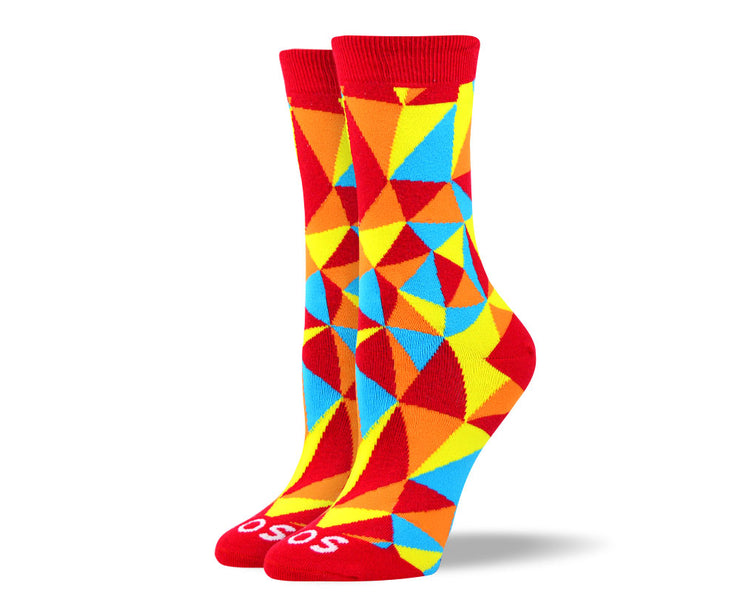 Women's Trendy Orange Mosaic Socks