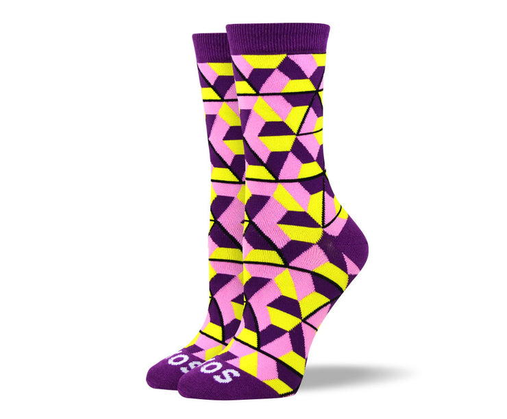 Women's Funny Purple Trapezoid Socks