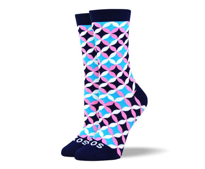 Women's Cool Blue Flower Petal Socks