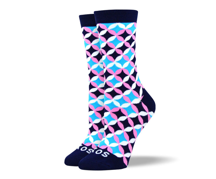 Women's Fun Blue Flower Petal Socks