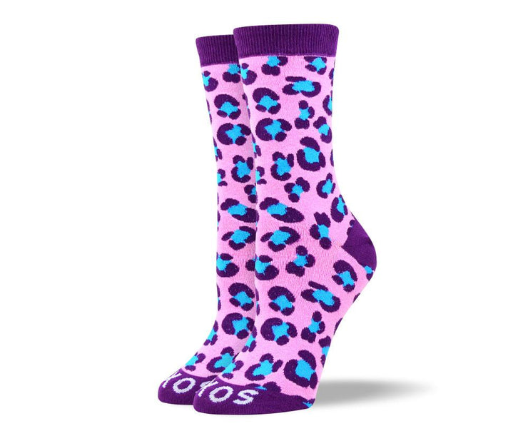 Women's Novelty Purple Leopard Print Socks