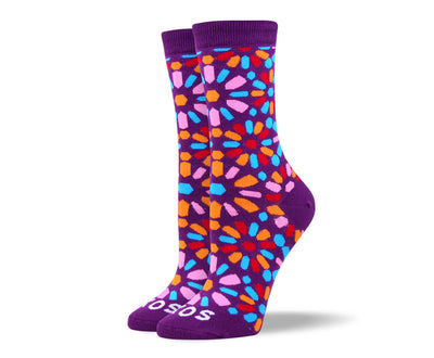 Women's Purple Flower Art Socks