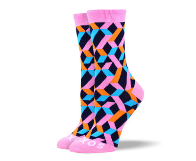 Women's Unique Pink Shape Socks