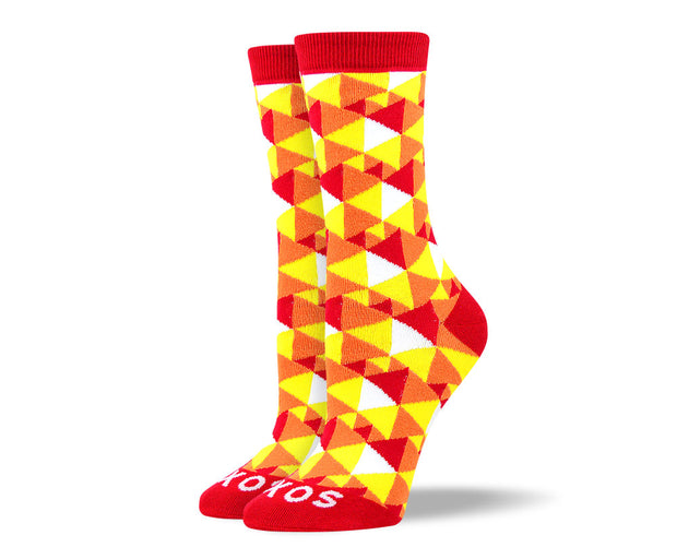 Women's Fun Yellow Triangle Socks