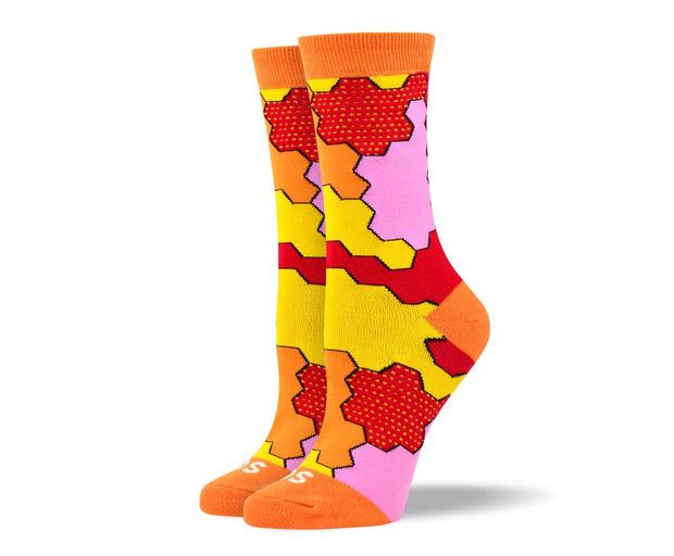 Women's Pattern Orange Jigsaw Socks For Autism