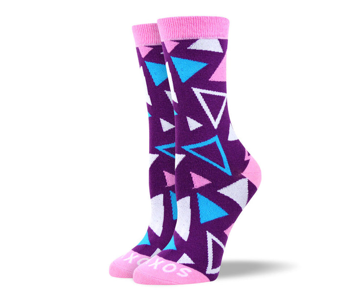 Women's Purple Triangle Pattern Socks
